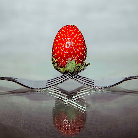Strawberry and Fork by Ian Walag - Food & Drink Fruits & Vegetables