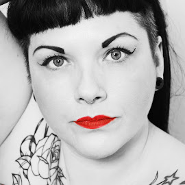 Tattoo Beauty by Vix Paine - People Body Art/Tattoos ( blackandwhite, body, tattoos, red lips, body art, pop, beauty, tattoo, eyes, redlips, bodyart,  )