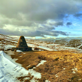 The Cairn in Swaledale by James Holdsworth - Landscapes Mountains & Hills ( swaledale, snow, moors, stone, cairn )