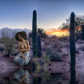 Desert Reflection by Charlie Alolkoy - Digital Art People ( reflection, nude, desert, woman )