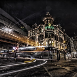 Northern Goldsmiths by Adam Lang - City,  Street & Park  Night ( lights, trailing light, northern goldsmiths, street, newcastle )