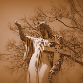 Angel by Lisa Silva - Buildings & Architecture Statues & Monuments ( angel, sepia, statue, cemetery, atlanta, historic, city )