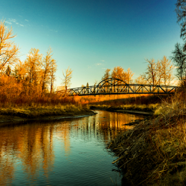 Edmonton City Park by Joseph Law - City,  Street & Park  City Parks ( blue sky, bushes, reflections, trees, bridge, edmonton, city park, river )