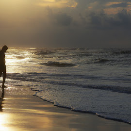 Golden Sunrise by Shourjendra Datta - Landscapes Beaches
