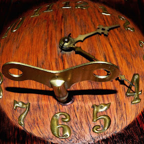 Turn The Key by Darcie Wright - Artistic Objects Other Objects ( clock key time numbers wood grain metal )