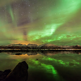 Green aurora by Benny Høynes - Landscapes Starscapes ( canon, auroras, nature, northernlights, andøya )