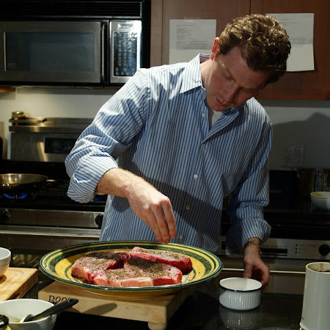 Bobby Flay's New York Strip Steak With Horseradish-Mint Glaze