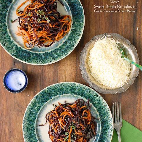 Spicy Spiralized Garlic-Cinnamon Sweet Potato Noodles