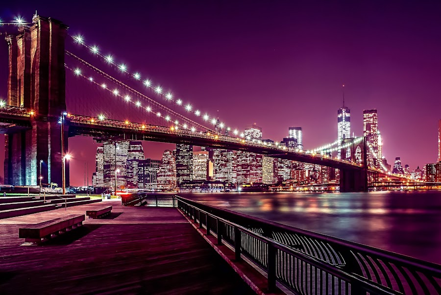 Brooklyn Bridge by Mariya Miteva-Simon - City,  Street & Park  Skylines ( lights, brooklyn bridge, skylike, night, new york )