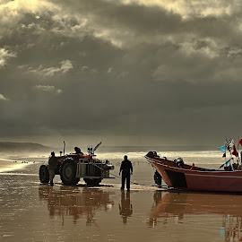 Fonte da Telha Beach by João Tremoceiro - Landscapes Beaches ( clouds, fishing, beach, boat, landscape )
