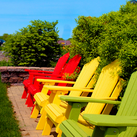 Colorful Chairs by Becky McGuire - Artistic Objects Furniture ( orange, chair, red, tvlgoddess, lawn, becky mcguire, colorful, relax, green, adirondack, patio, yellow,  )