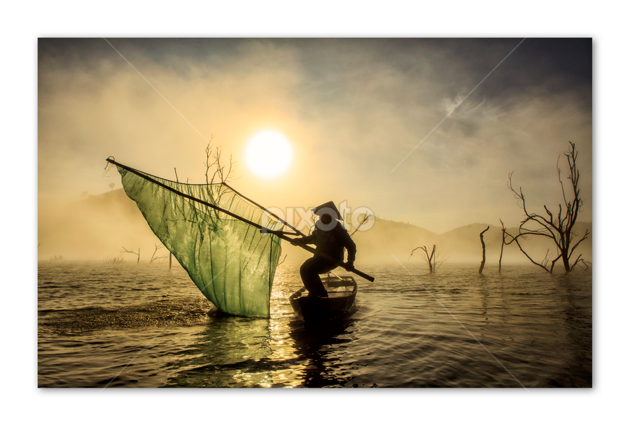 Vớt mặt trời by Kenji Le - News & Events World Events ( water, tree, fog, fishing, sunrise )
