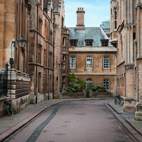 Cambridge street by Sam Alexander - City,  Street & Park  Street Scenes ( december, england, for book, 2015, cambridge )
