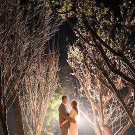 Bride and gromm in the fruitgarden by Nici Pelser - Wedding Bride & Groom ( wedding photography, night photography, weddings, bride and groom, garden )