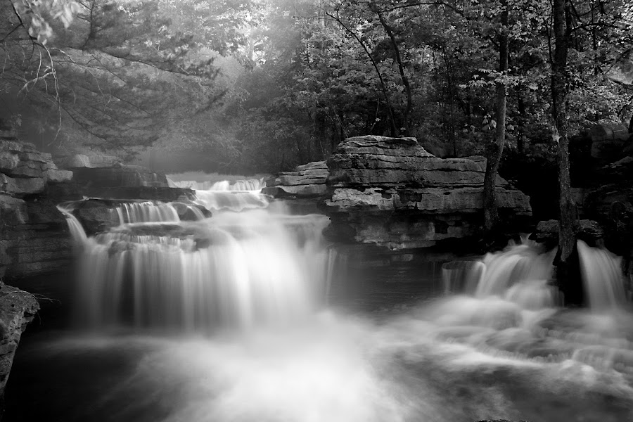 WHITE WATER by Dana Johnson - Black & White Landscapes ( black and white, waterscape, falls, cascades, landscape )