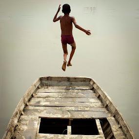 Fly by Devesh Kalla - Babies & Children Children Candids ( village, swim, pwcwatersports-dq, summer, india, jump )