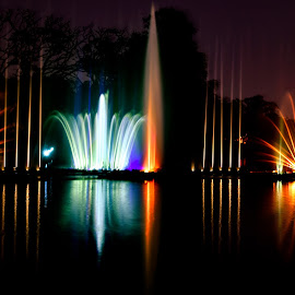 The Fountains of Youth by Subhayan Saha - Abstract Light Painting ( lights, urban, patterns, night photography, colorful, fountains, reflections, lake, long exposure, city )