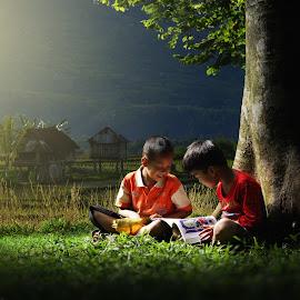 Morning Reading by Suloara Allokendek - Babies & Children Children Candids ( child, reading, happy, morning, light )