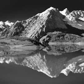 Quiet Mountains by Angelo Jesus - Landscapes Mountains & Hills ( water, calm, mountains, reflection, nature, black and white, snow, lake, quiet, landscape )