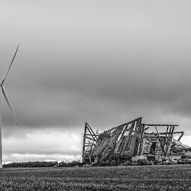 Blown Over by Greg Croasdill - Landscapes Prairies, Meadows & Fields ( adventure, barn, travel, windmill, abandoned,  )
