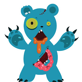 Zombie Bear by Deemarie Valenza - Illustration Cartoons & Characters ( cool, bear, gross, gore, zombie )