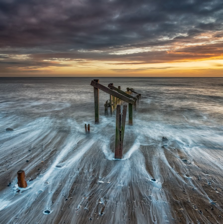Ebbing Tide by Phil Green - Landscapes Waterscapes ( hornsea, seascape, breakwater, beach, east yorkshire, wave,  )