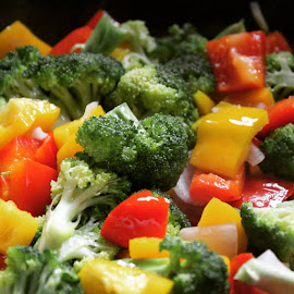 Sauteed Vegetables. by Nishtha C - Food & Drink Fruits & Vegetables ( #vegetables, #yellow, #colour, #saute, #green, #cooking, #red )