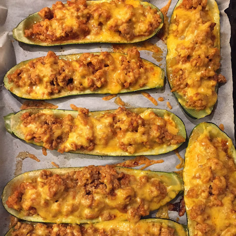Baked Stuffed Zucchini Boats With Ground Beef And Cheese