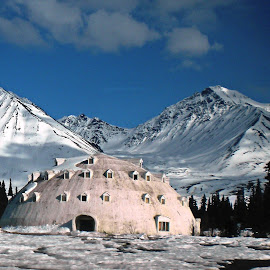 Alaska Igloo by Nancy Young - Buildings & Architecture Other Exteriors ( building, mountain, igloo, snow, alaska )
