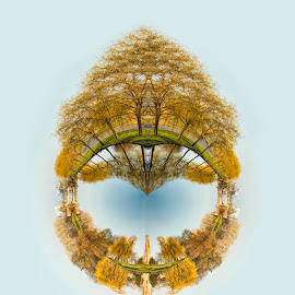 Peaceful Planet by Pat Eisenberger - Digital Art Places ( michigan, planet, belle isle, carillion, manipulated, digital art, landscape, detroit, nancy brown peace carillion, photography )