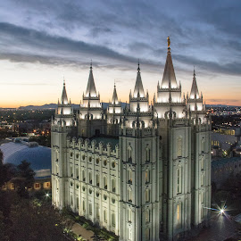Temple at night by Kimberly Hunker - Buildings & Architecture Places of Worship ( temple, mormon, sunset, night, salt lake city,  )
