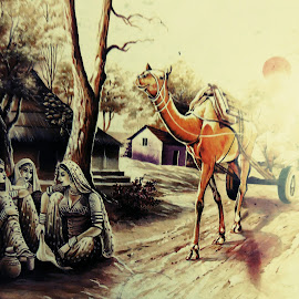 Village scene by SANGEETA MENA  - Drawing All Drawing