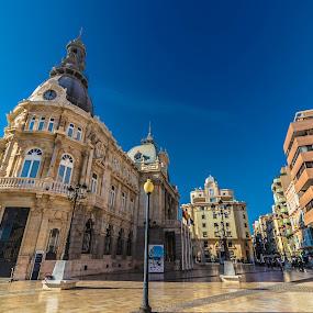 Palacio Consistorial de Cartagena by Alexandre Rios - Buildings & Architecture Architectural Detail ( photographic, old, europe, cartagena, blue, cityscape, architecture, places of interest, spain, photography, historic )