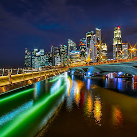 by Gordon Koh - City,  Street & Park  Night ( shenton way, clouds, skyline, cityscape )
