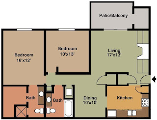 Castleton Manor Floor Plan 2 Bed 2 Bath 1075 SqFt