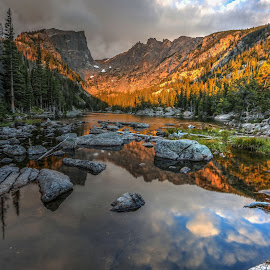 After glow by Casey Mitchell - Landscapes Mountains & Hills ( clouds, water, reflection, mountain, lake, landscape, pond, sun )