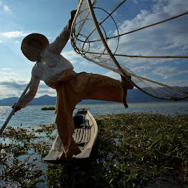 balanced by Mike Mulligan - People Street & Candids ( inle lake, myanmar, sunset, boats, fisherman )