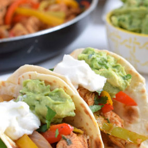 Chili Lime Chicken Fajitas with Guacamole