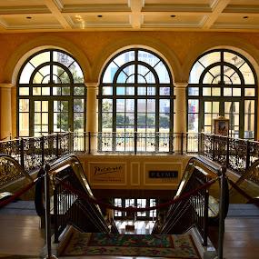 Quaint vegas lobby by Vita Perelchtein - Novices Only Objects & Still Life ( stairs, windows, hotel, strip, sunlight, vegas, escalator )