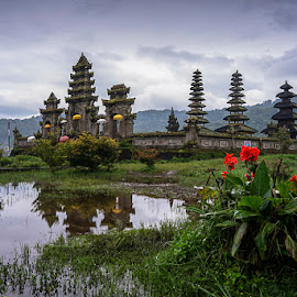 Temple by Bobo Tandiono - Buildings & Architecture Places of Worship ( temple. flower. lake. umbrella )