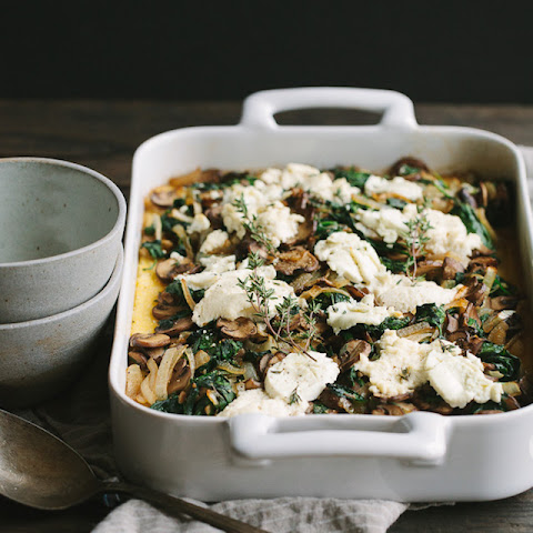 Ricotta Goat Cheese Polenta with Mushrooms, Spinach and Caramelized Onions
