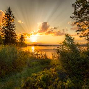 by Rose-marie Karlsen - Landscapes Sunsets & Sunrises ( clouds, fineart, dawn, nature, sunbeams, sunset, green, colors, trees, sunshine, landscape, light )