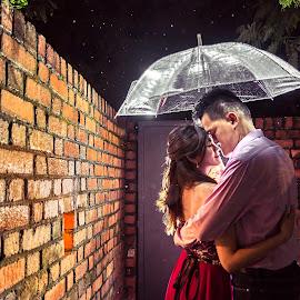 Love Rain by Mark Vong - People Couples ( love, hug, umbrella, raindrops, couple, romance )