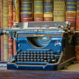 Books and typewriter by Nancy Young - Artistic Objects Antiques ( ledgers, books, old, typewriter, antique,  )
