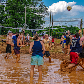 Winning Shot by Myra Brizendine Wilson - Sports & Fitness Other Sports ( teams, mud, volleyball, sports, mud volleyball, people )