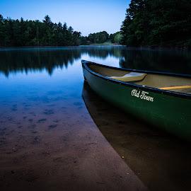 Ready to Launch by Tom Moors - Sports & Fitness Watersports ( camping, lake keowee camping, keowee toxaway state park, canoe, lake, morning, lake keowee, paddle, south carolina )