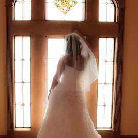 The wait by Darrin Halstead - Wedding Bride ( window, soft focus, wedding, white dress, bride )