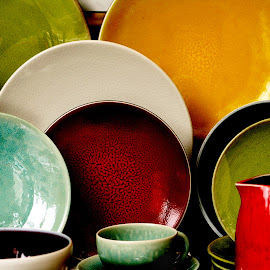 by Eva Pastor - Artistic Objects Cups, Plates & Utensils ( bols, red, plates, cups, green, yellow,  )