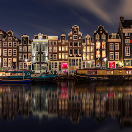 Amsterdam Canal Houses @ night by Michael van der Burg - Buildings & Architecture Public & Historical ( canals, reflection, holland, red light district, amsterdam, netherlands )