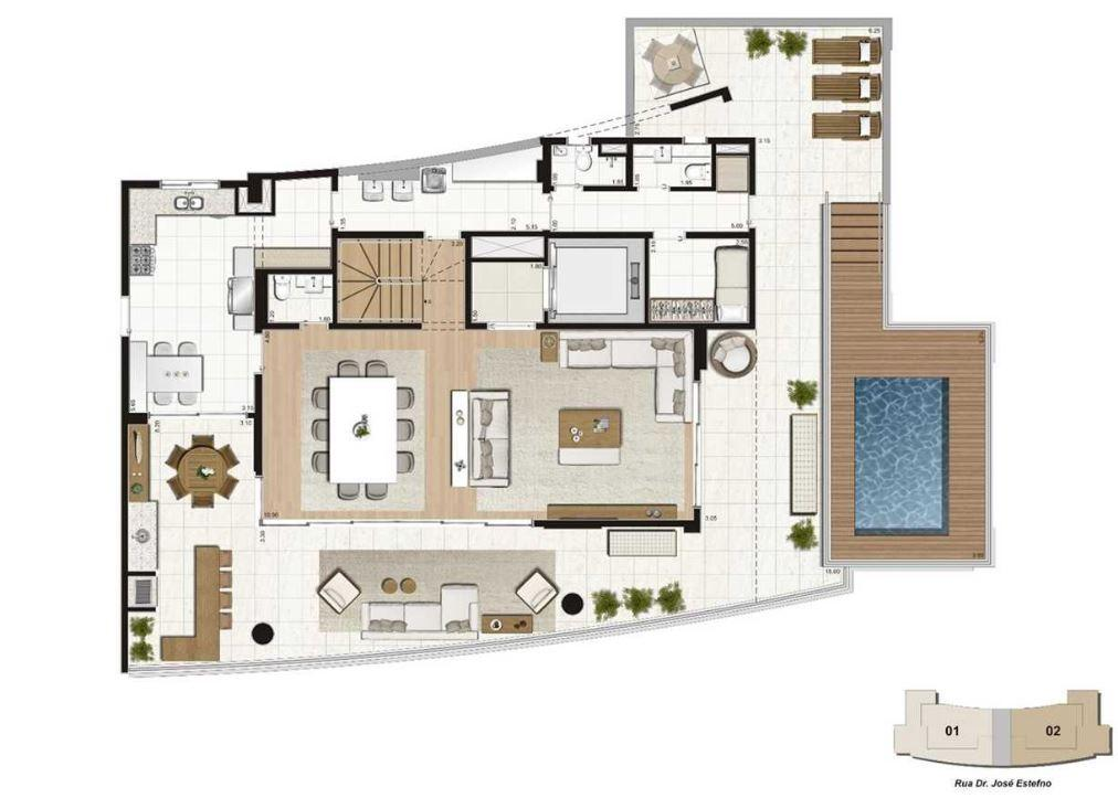 Planta Cobertura Duplex Pav Inferior - 460  m²